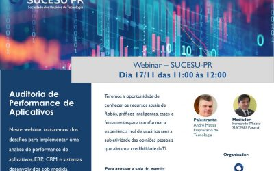 Webinar 17/11: Auditoria de Performance de Aplicativos